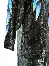 Halston Feather Sequined Ensemble
