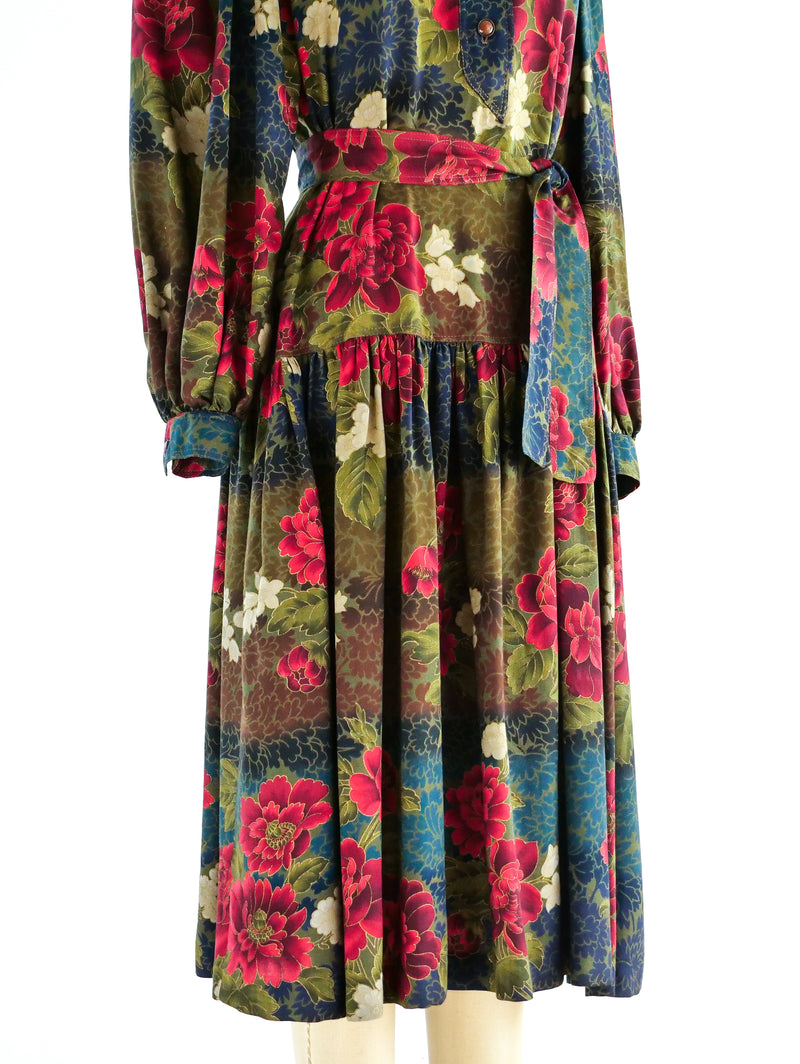 Ungaro Muted Floral Peasant Dress