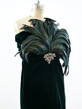 Bill Blass Feather Embellished Strapless Dress