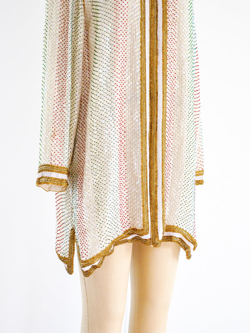 Multicolor Beaded Silk Duster