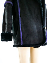 Shearling Jacket with Contrast Piping