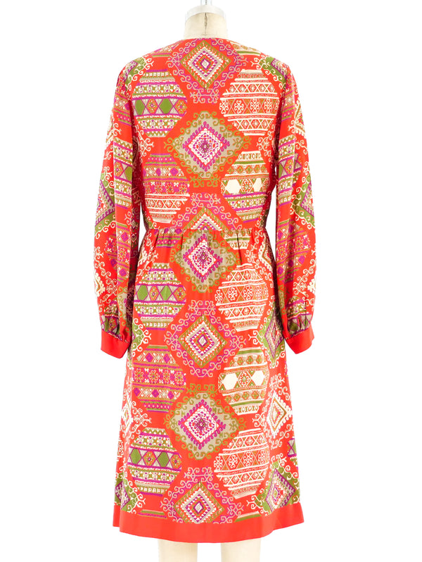 1960's Printed Silk Dress
