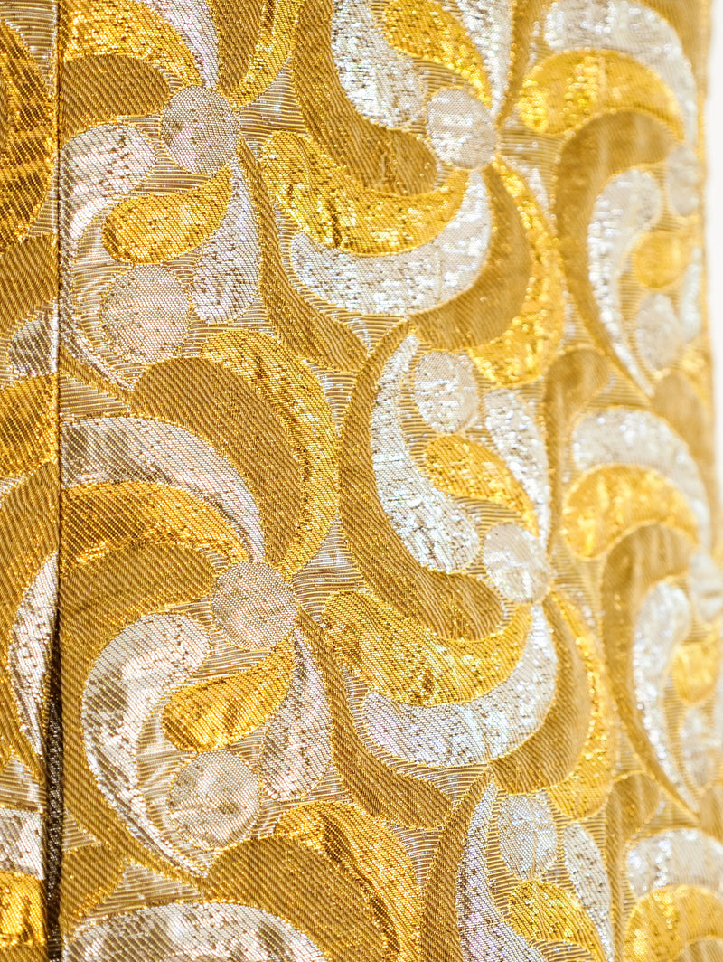 Metallic Gold and Silver Brocade Dress