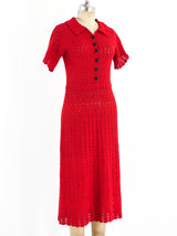 1930's Red Cotton Crochet Dress