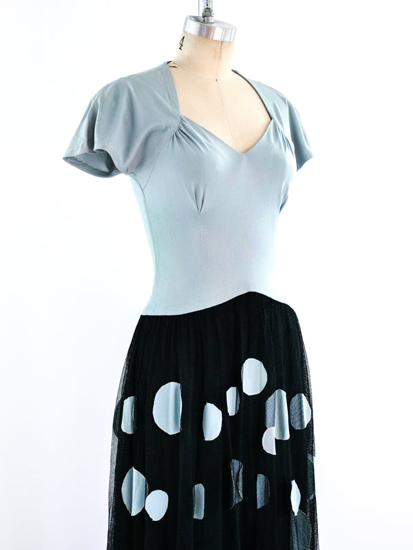 1940's Polka Dot Evening Dress