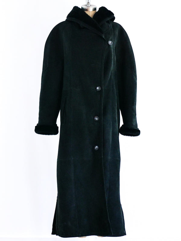 Black Hooded Shearling Overcoat