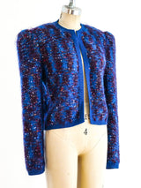 Indigo and Maroon Marbled Knit Jacket