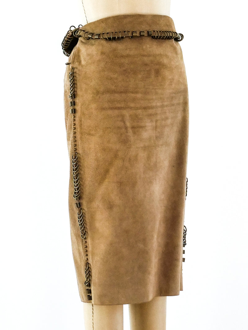Yves Saint Laurent Pierced Suede Skirt
