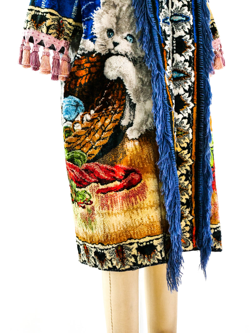 Kitten Fringed Tapestry Carpet Coat