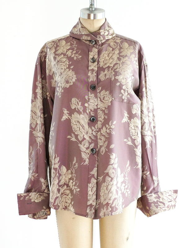 Romeo Gigli Lavender Floral Button Front Shirt