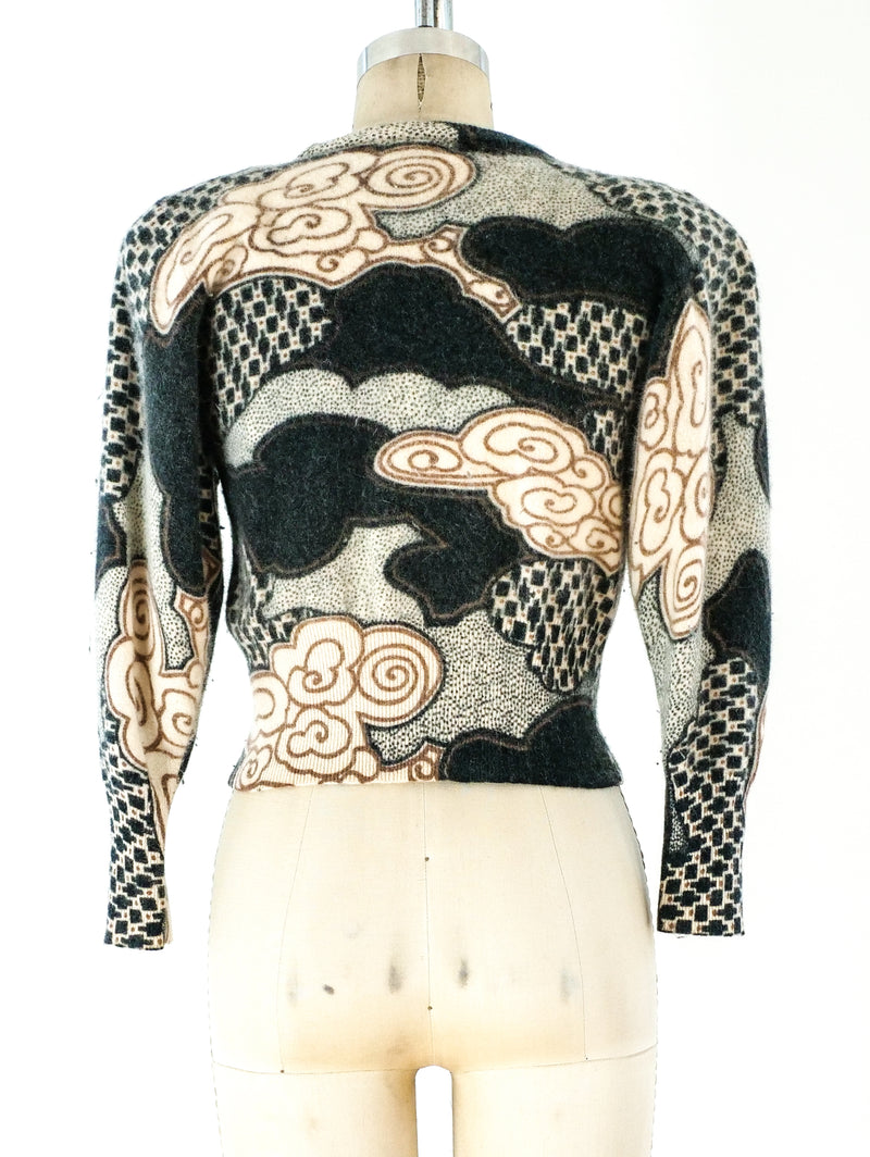 Embellished Cloud Print Cropped Sweater