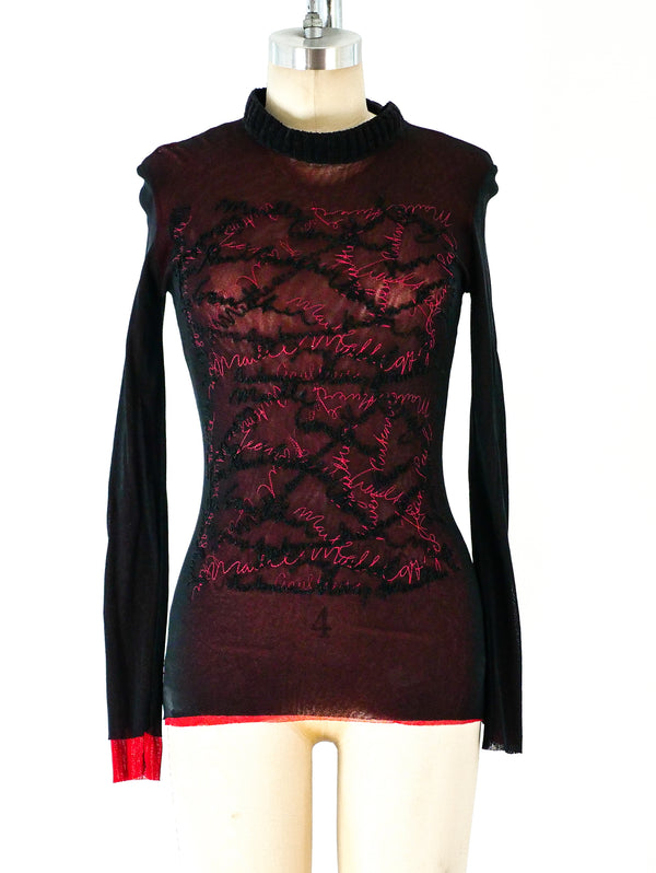 Jean Paul Gaultier Signature Embroidered Mesh Top