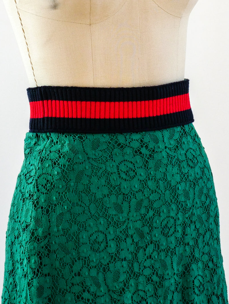 Gucci Green Lace Skirt