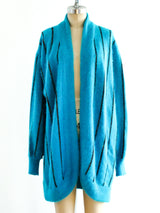Teal Angora Striped Cardigan