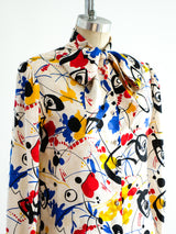 Abstract Expressionist Printed Silk Top