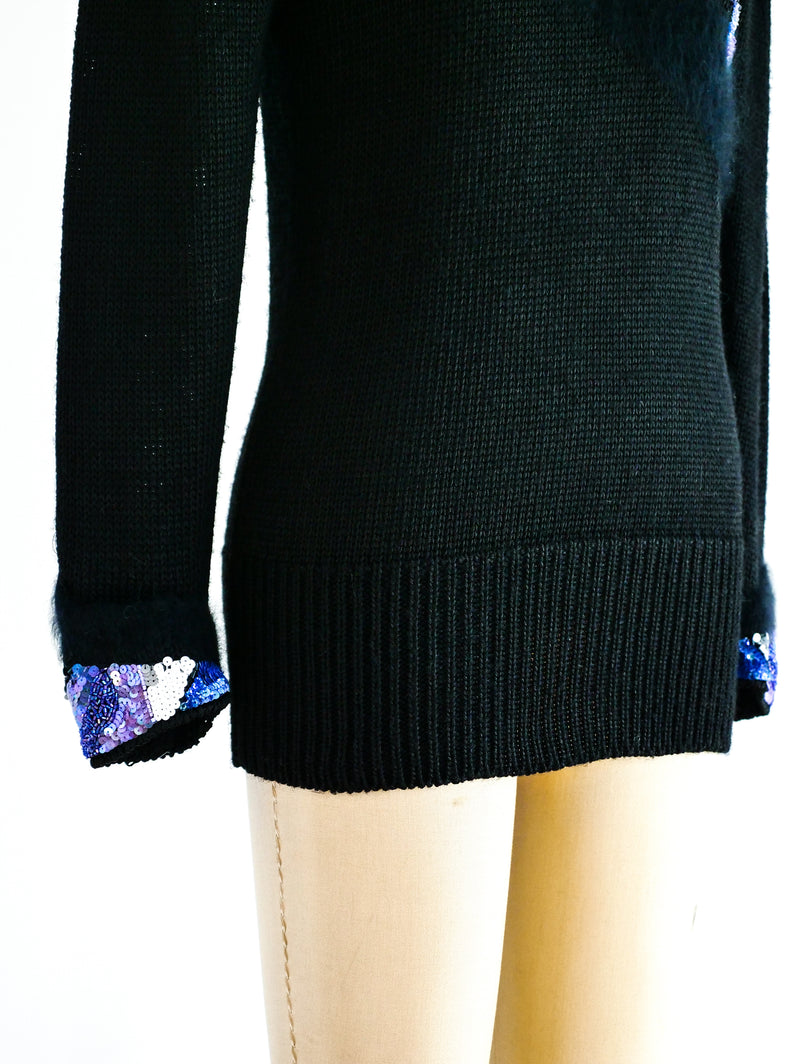 Embellished Black Knit Sweater