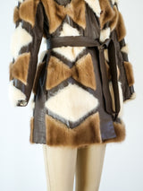 Mink and Leather Patchwork Coat