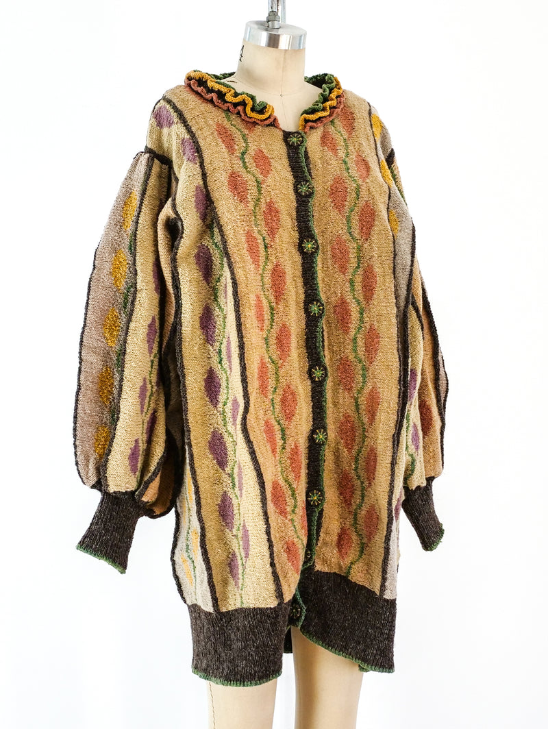 Leaf Motif Hand Knit Jacket