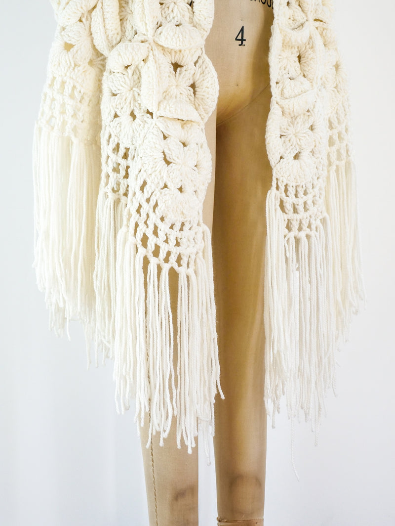 Dimensional Crochet Fringed Cape