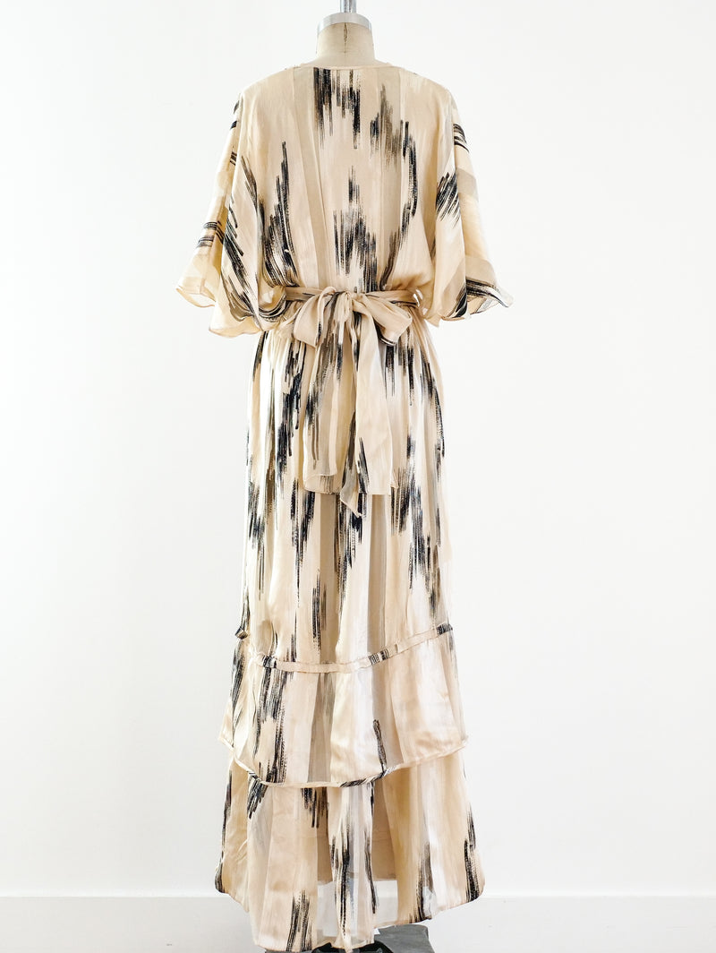 Ivory Silk Ikat Printed Dress