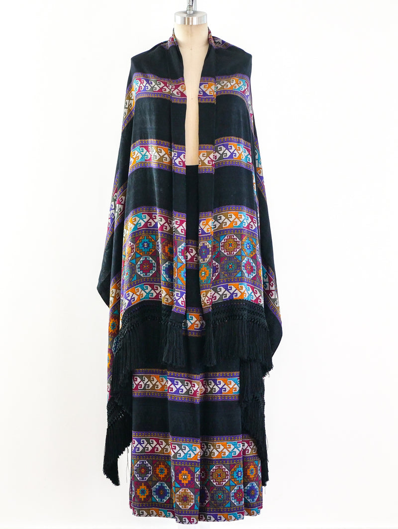 Andrea Odicini Silk Maxi Skirt and Shawl Ensemble