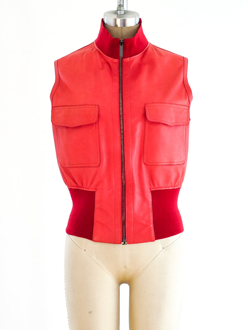 Red Leather Sleeveless Jacket