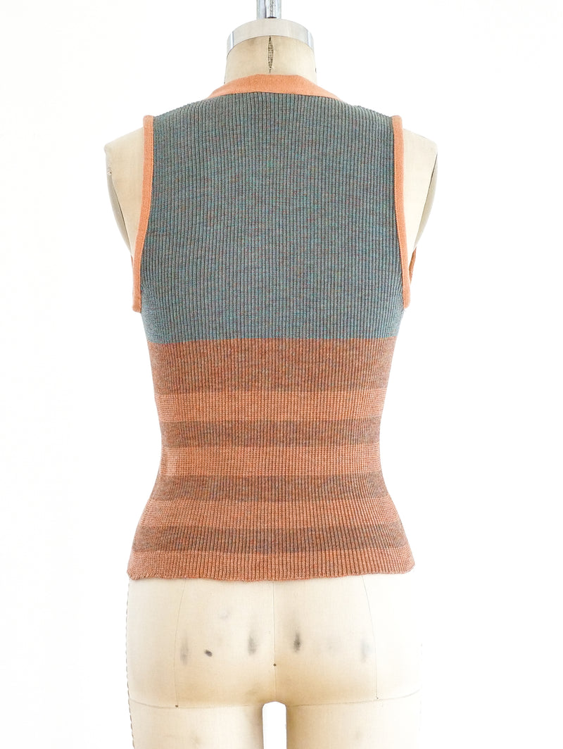 Rib Knit Vest with Baseball Buttons