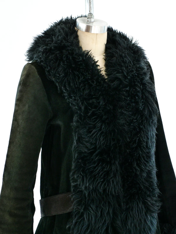 1970's Shearling Trimmed Suede Coat