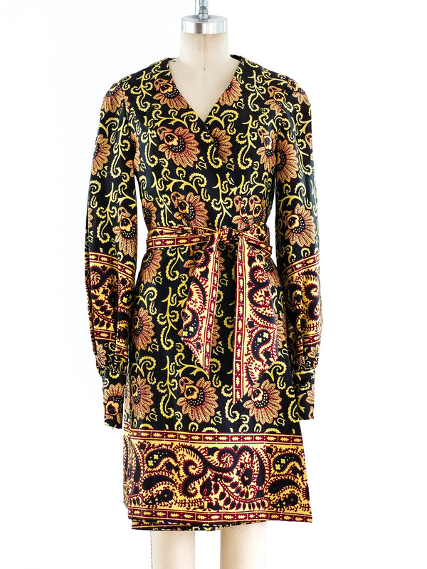 Block Printed Satin Wrap Dress