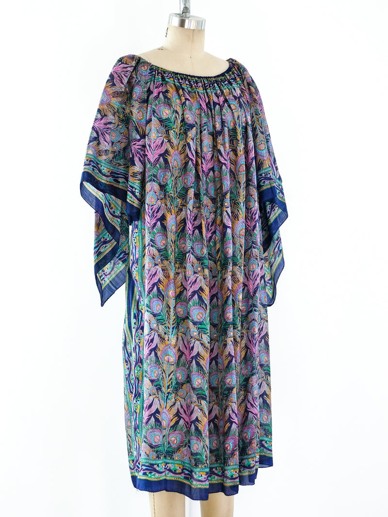 Peacock Feather Scarf Dress