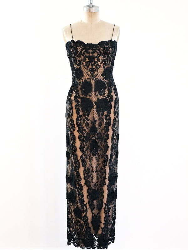 Bill Blass Lace Illusion Gown
