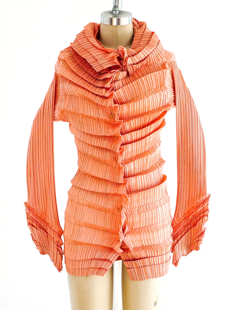 Issey Miyake Salmon Pleated Top