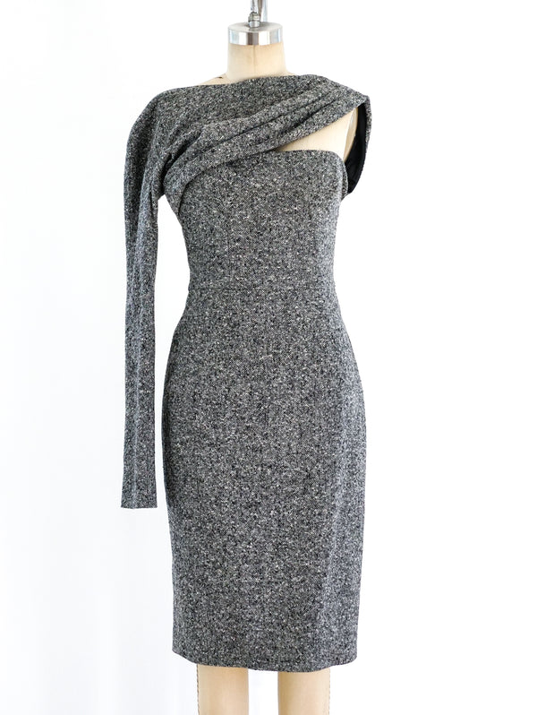 Christian Dior One Sleeved Tweed Dress