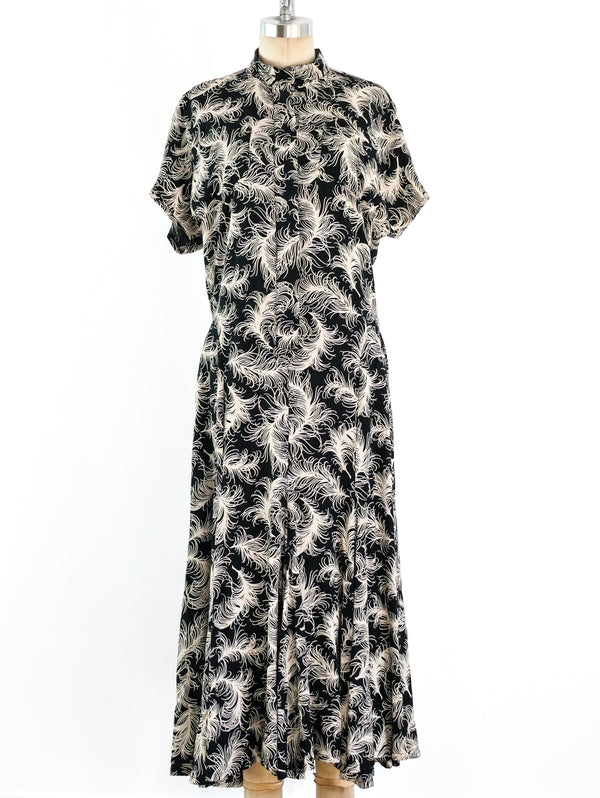 Norma Kamali Feather Printed Dress