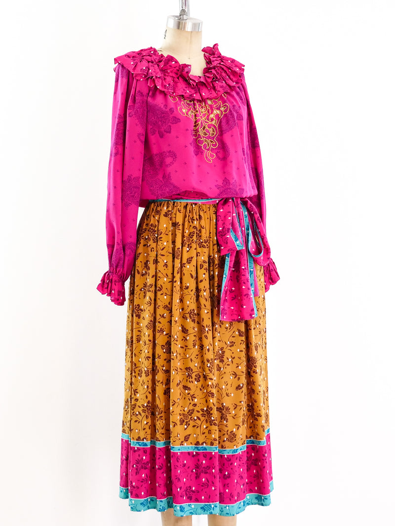 Oscar de la Renta Printed Silk Skirt Ensemble