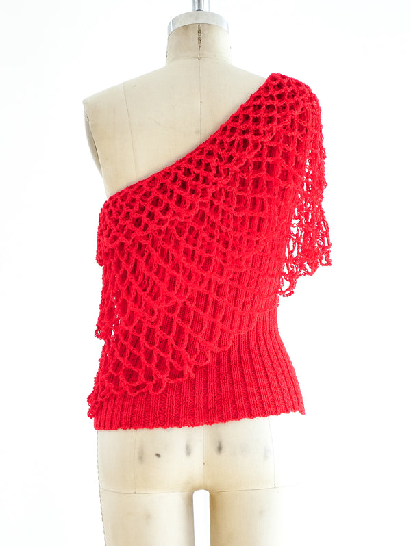 Crimson One Shoulder Knit Top