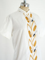 Oleg Cassini Wheat Embroidered Shirt