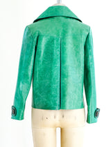Snakeskin Trimmed Turquoise Leather Jacket