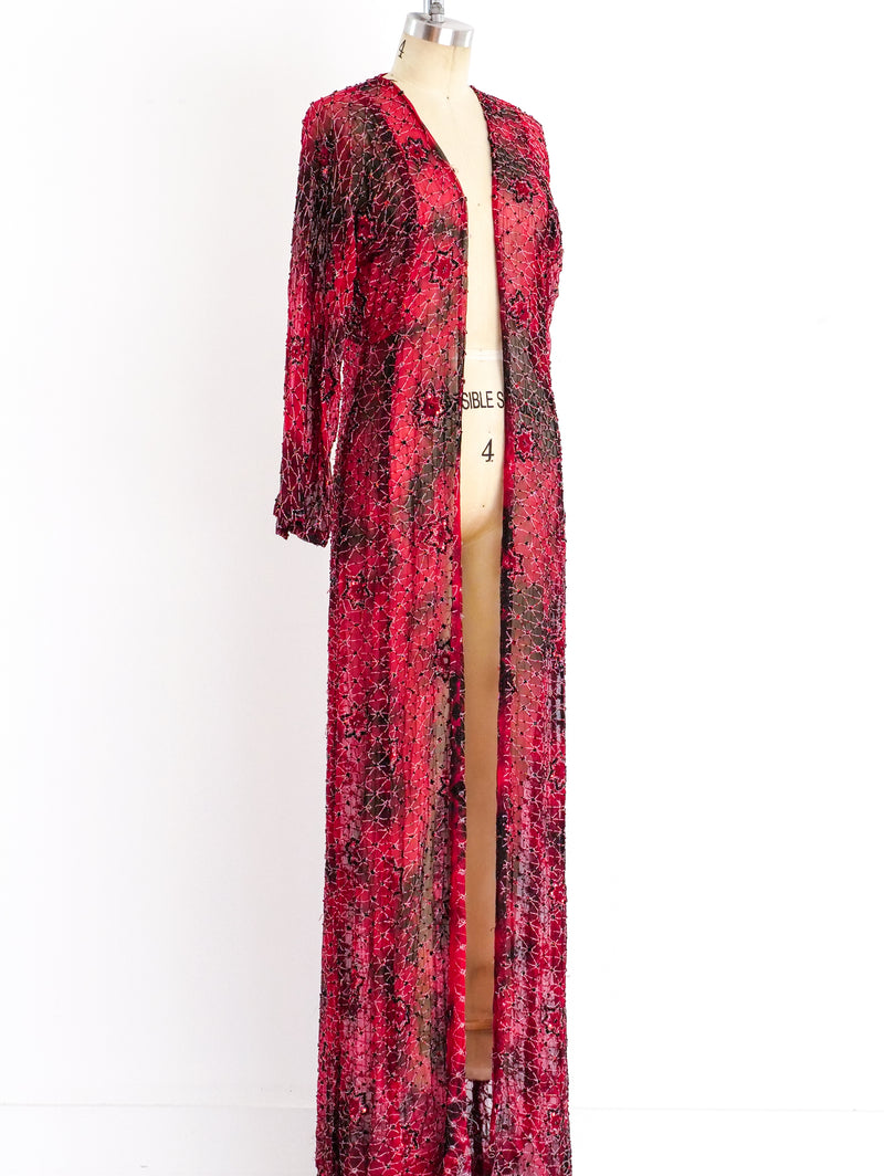 Crimson Starburst Beaded Duster