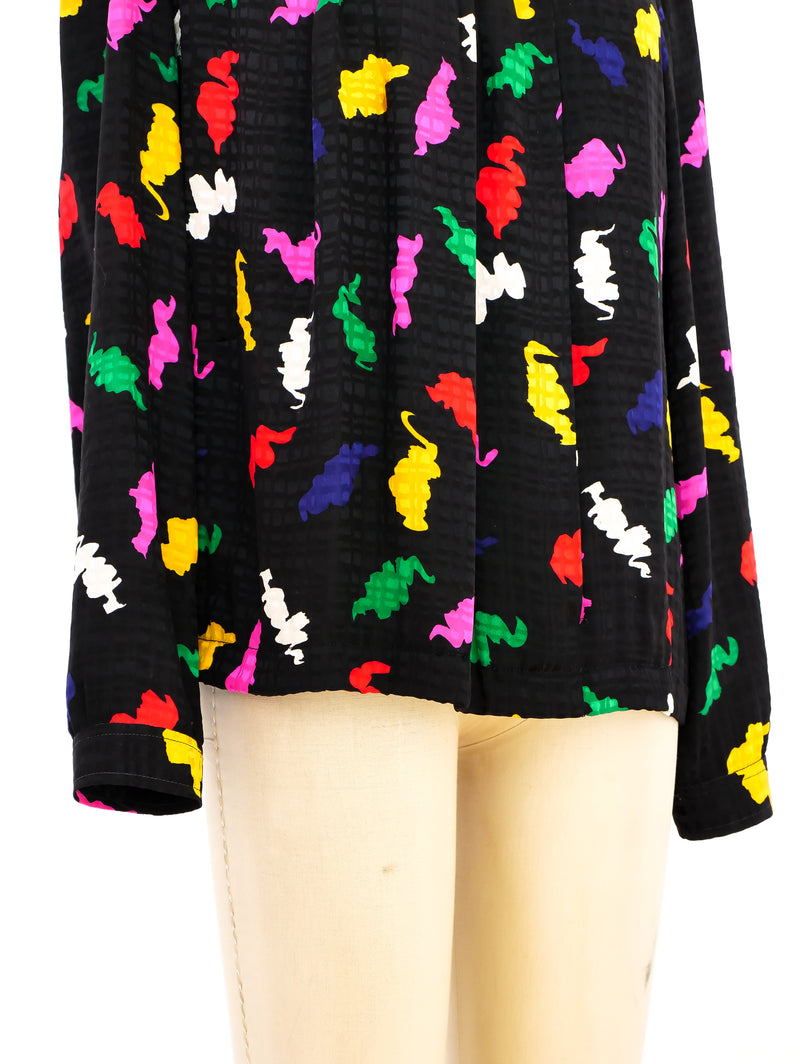 Abstract Printed Silk Blouse