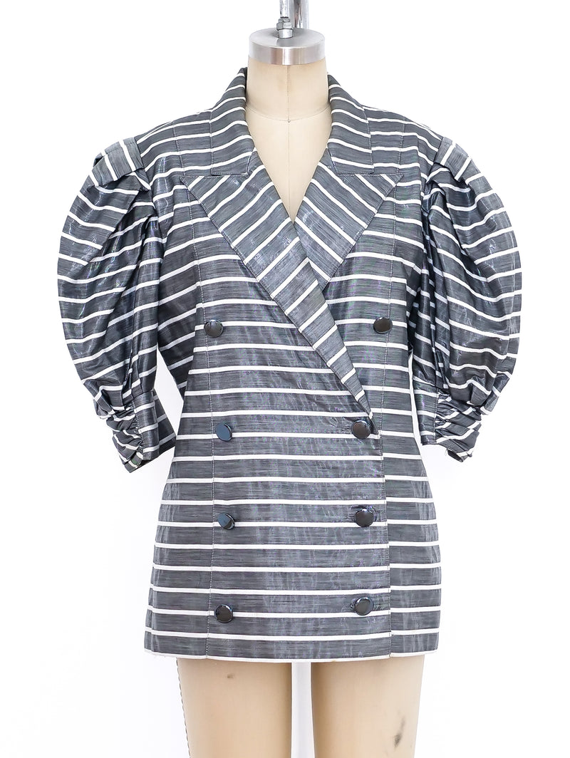 Metallic Stripe Short Sleeve Jacket