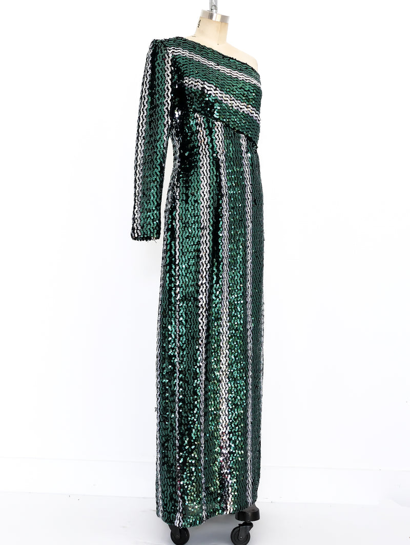 Striped Sequin One Sleeved Gown