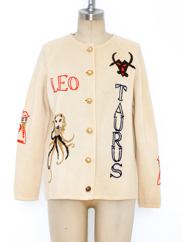 Zodiac Embroidered Cardigan