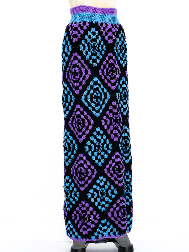Granny Square Knit Maxi Skirt