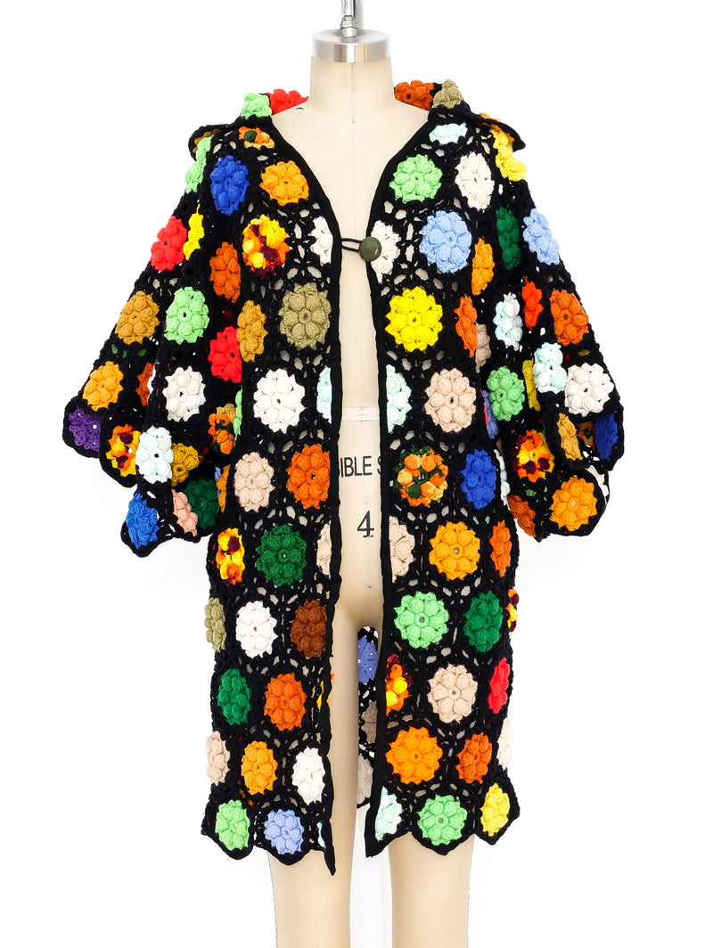 Multicolor Granny Square Crochet Hooded Jacket