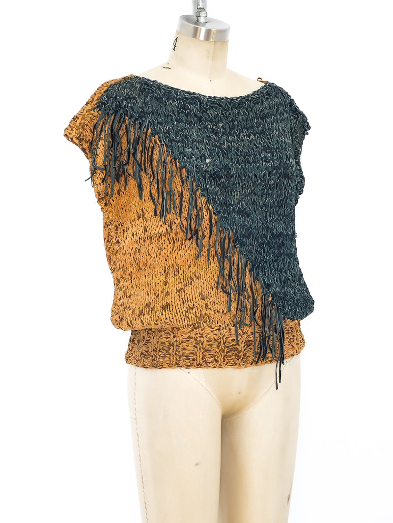Woven Leather Fringe Top