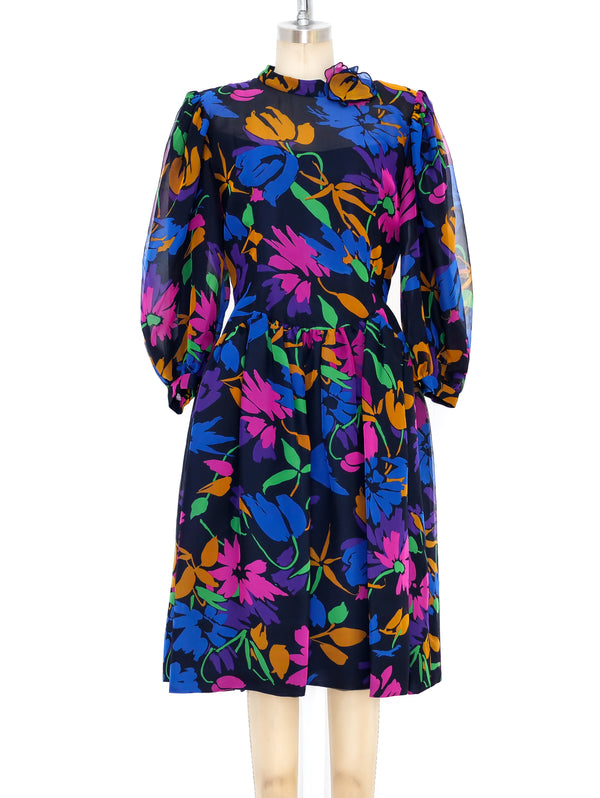 Pauline Trigere Floral Printed Silk Dress