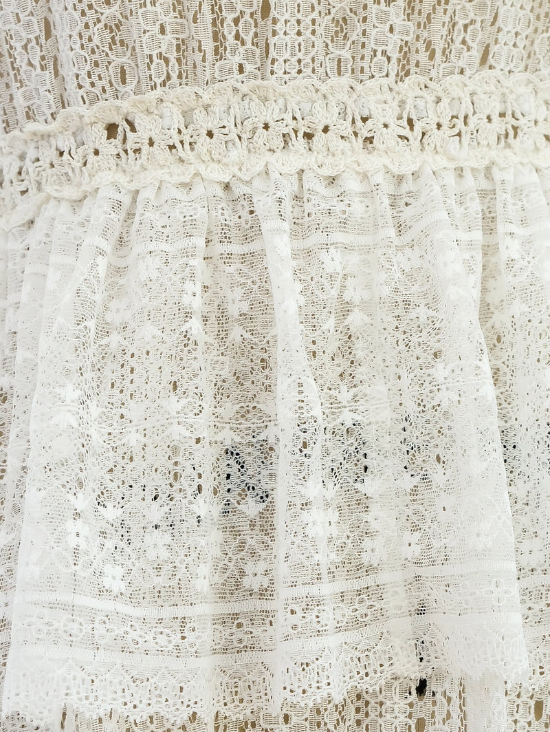 White Crochet Lace Ruffle Dress