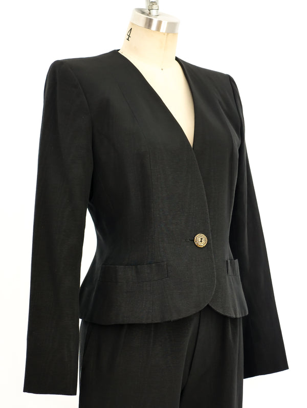 Yves Saint Laurent Black Twill Pant Suit