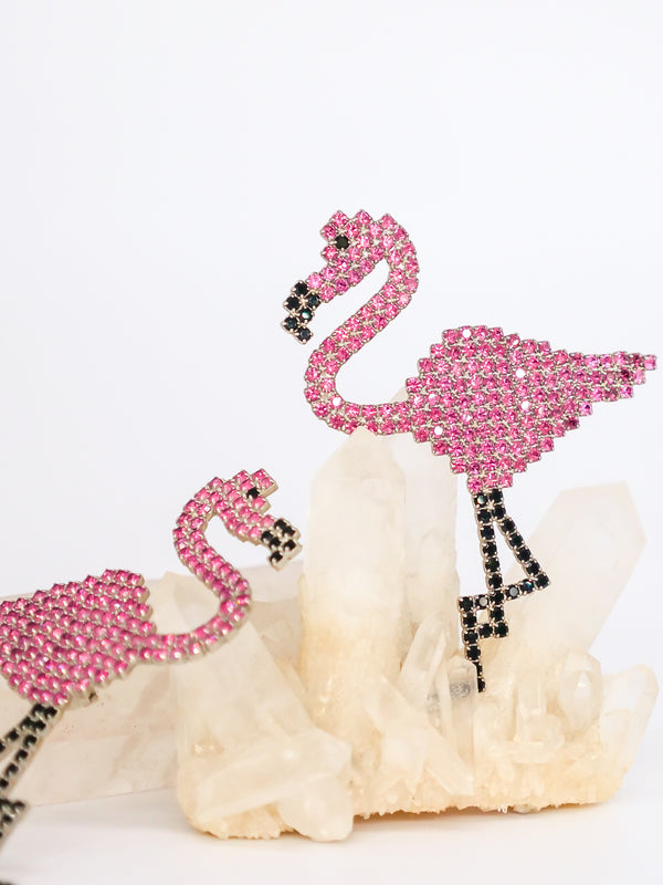 Bauer Pink Flamingo Rhinestone Earrings